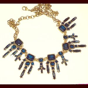 Gold toned blue rhinestone necklace